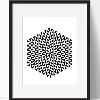 Digital Print, Hexagon, Home Decor, Modern Wall Art, Black and White, Wall Decor, Living Room, Printable, Instant Download, Wall Prints