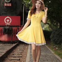 Fashion Korean Sweet Elegant Short Sleeve Tunic Dress Women Ladies Skirts Lace