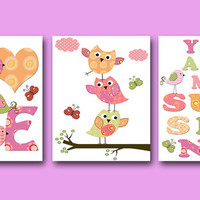You Are My Sunshine Baby Girl Nursery Art Print Children Wall Art Baby Room Decor Kids Print set of 3 8x10 Owls Rose Yellow Baby Art Prints