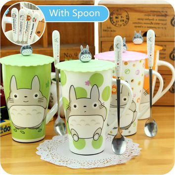 Cute Cartoon My Neighbor Totoro Mug With Cover Creative Ceramic Fashion Lovers Large Capacity Camp Office Use