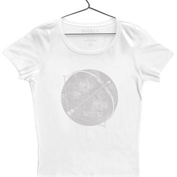 Symbol of Artemis Goddess of Hunting t-shirt for women by Dodeka MC