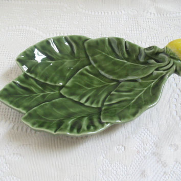 Vintage Olfaire Pottery Lemon and Leaves Green Serving Dish Made in Portugal