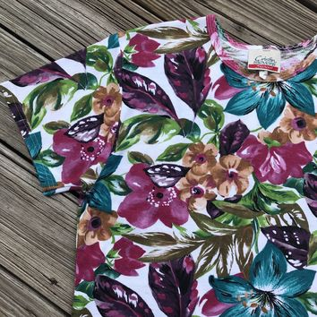 CRISTIN STEVENS VINTAGE Women's Size Medium Cotton Blend Floral T-shirt