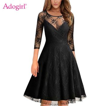 Adogirl Elegant Sexy Sheer Mesh Lace Overlay Evening Party Dresses 3/4 Sleeve Casual Midi Princess Dress Women Office Vestidos