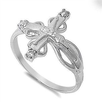 Sterling Silver 925 SIDEWAY CRUCIFIX CROSS DESIGN CLEAR CZ RING 18MM SIZES 4-10