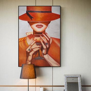 Elegant Top hat Lady Canvas Painting Vintage Girl Wall Art Picture For Living Room Aisle Studio Home Decoration Poster And Print