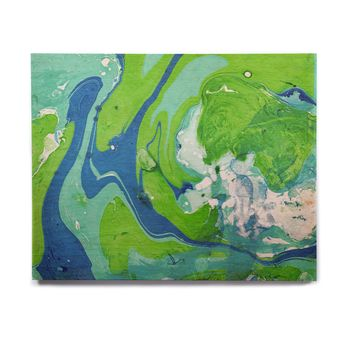 "Rosie Brown ""Ocean Tides"" Blue Green Abstract Nautical Painting Birchwood Wall Art"