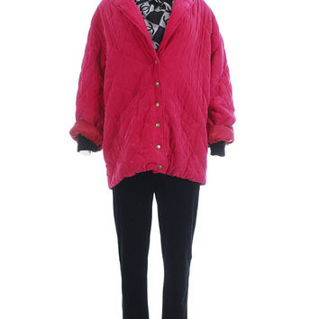 "Silk Quilted Jacket XXL Puffer Coat Oversized Jacket Fuchsia Dark Pink 1980s Clothing Vintage Clothing Women's Plus Size XL / XXL - 51"" Bust"
