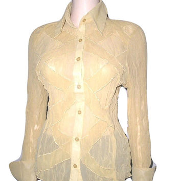 Vintage 70s Yellow Chiffon Shirt S YELLOW Sheer Chiffon Bandage Blouse by SHARRON Pointy Collars French Cuffs Womens Shirt S/M
