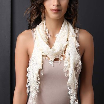 Floral Lace Dangling Trim Taper Scarf