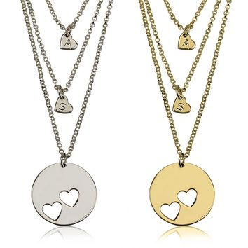 Personalized Mother and Daughter Disc Pierced Heart & Initial Necklace Set