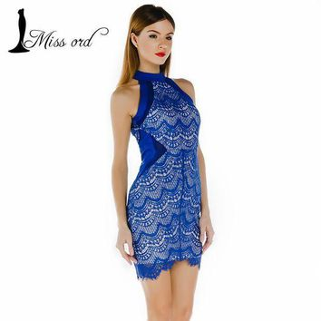 PEAPUNT Lace Stitching Body Hugging Mini Dress