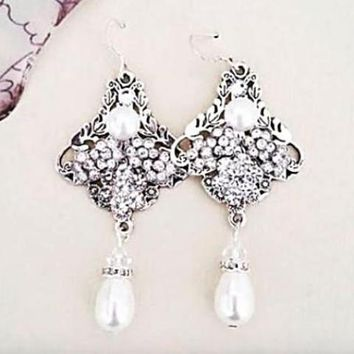 Gatsby Chandelier Wedding Earrings RAISA Art Deco Bridal Jewelry