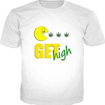 Get high! Stoned Mr. Pac classic fit white tee shirt, 420 ganja design in retro gaming