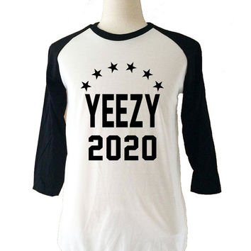 YEEZY 2020 Kanye West Long Sleeve 3/4 Baseball T-Shirt