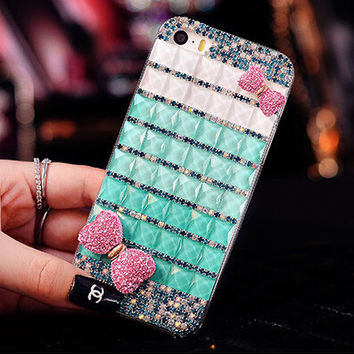 Bling Gradual Rhinestone Diamond bow lip hard back diamond Case For Samsung Galaxy G9250 S6edge N9150 note4 edge note edge