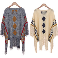 Plus Size Knit Tops Round-neck Pullover Tassels Bat Scarf Sweater [9108917767]