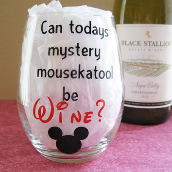 Mystery Mousekatool 21 oz Stemless Wine Glass- Mommy Gift- Mickey Mouse- Disney Fan