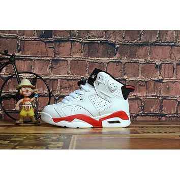 Kids Air Jordan 6 White/Red Sneaker Shoe Size US 11C-3Y