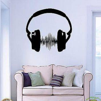 Wall Stickers Vinyl Decal Headphones Sound Music Party Unique Gift z1149