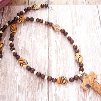 Animal Print Cross Necklace W/ Wood Cross, Christian Jewelry, Brown Cross Necklace, Christian Necklace, Christian Jewelry For Her, Christian