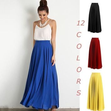 Pure Color High Waist Flared Maxi Skirt 37988442483