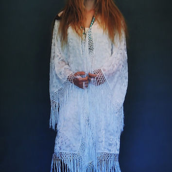 Silk FRINGE Long KIMONO ivory white Indian floral robe devore duster opera Florence Deco Gatsby hippie Sheer Mucha Stevie Nicks BOHO gypsy