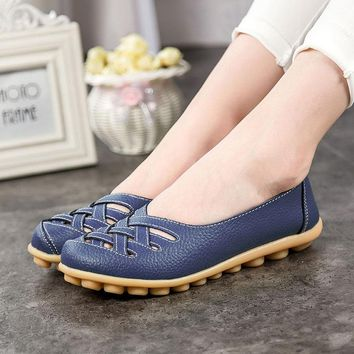 Plus Size 2017 Shoes Woman Oxfords Flats Genuine Leather women shoes Loafers Driving Shoes Moccasins Colors Slip On  348