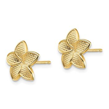 14k Yellow Gold Polished & Textured Plumeria Post Earrings