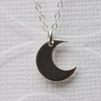 Crescent Moon Necklace STERLING Silver  Moon Necklace , Everyday Jewelry, Fine Sterling Silver Chain