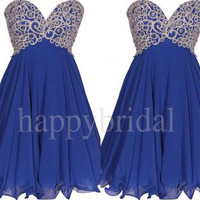 Short Royal Blue Beaded Prom Dresses Lovely Sweetheart Party Dresses Homecoming Dresses Cocktail Dresses