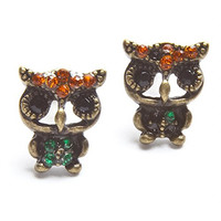 Vintage Style Red Head Blue Body Owl Stud Earring [Jewelry]