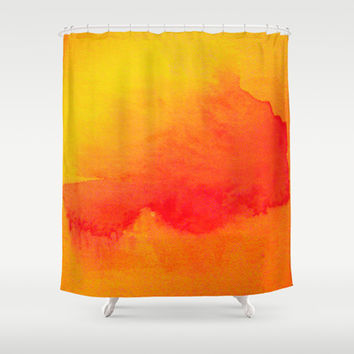 Summer Heat  Shower Curtain by Gréta Thórsdóttir #sun #coral #orange #fire #watercolor #abstract #red #bathroom