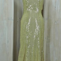 Gold sequin dress / size 8 / 12 / Evening / Formal / Party / Prom / Wedding / Vintage 80s Lew Magram / Glam / Sexy