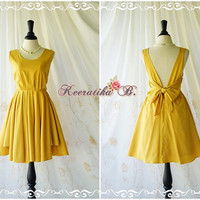 A Party V Charming Dress Cocktail Dress Mustard Yellow Backless Dress Prom Party Dress Wedding Bridesmaid Dress Bow Back Sundress XS-XL