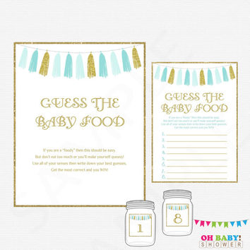 Blue and Gold Baby Shower Games, Guess the Baby Food, Baby Shower Printables Boy, Baby Food Game Instant Download Baby Food Guess Game TASBG