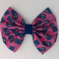Doctor Who Inspired Tardis Hair Bow Pink Version Large, Whovian, BBC, Fandom, Dr Who