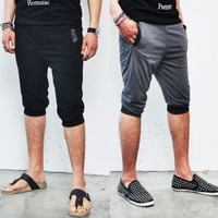 Bottoms :: Shorts :: Leather Trim Slim Baggy Cutoff Sweatpants-Shorts 19 - Mens Fashion Clothing For An Attractive Guy Look