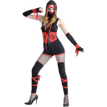 Umorden Halloween Purim Carnival Party Costume Adult Female Red Black Ninja Costumes Cosplay Short Jumpsuit Set for Women M-XL