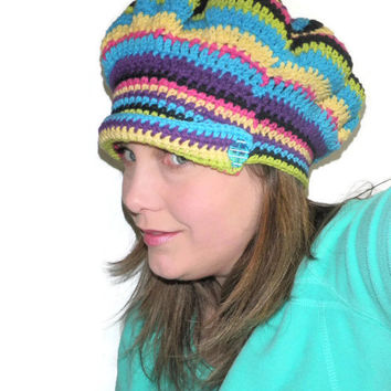Summer striped cotton crochet cap, festival wear hat