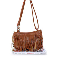 Brown Fashion Shoulder Bag With Tassel