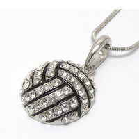 "Crystal ""Bling"" Volleyball Necklace"