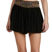 Sale-black Embroidered Band Skater Skirt