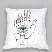 Wesley Bird For DENY Eye See Hamsa Pillow- White One