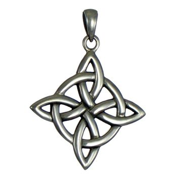 Sterling Silver Celtic Quaternary Witches Knot Pendant for men or women Jewelry