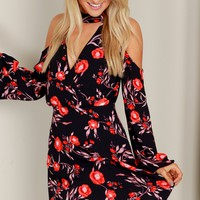Cold Shoulder Floral Dress Black/Red