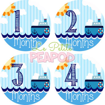 Monthy Baby Shirt Stickers - Red White and Blue Nautical Tugboat Design - Boy Monthly Baby Stickers