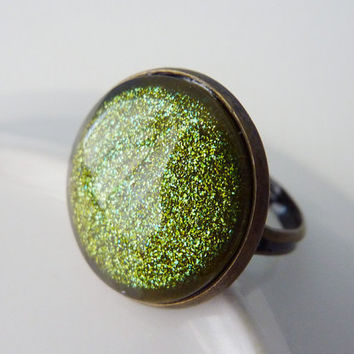 Green Glitter Ring, Adjustable Brass Ring ***SOLD OUT***