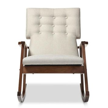Baxton Studio Agatha Mid-century Modern Light Beige Fabric Upholstered Button-tufted Rocking Chair Set of 1