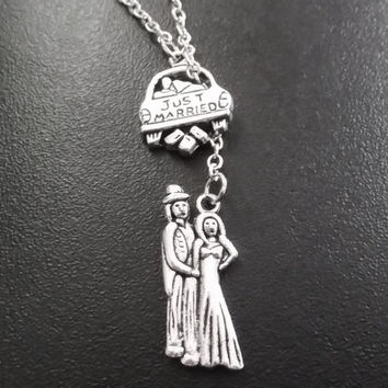 Husband, wife, bride, groom just married charms necklace.....choose your length item No.814